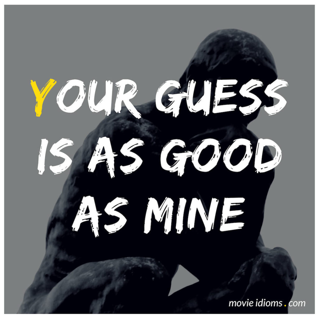 Your Guess Is As Good As Mine Idiom
